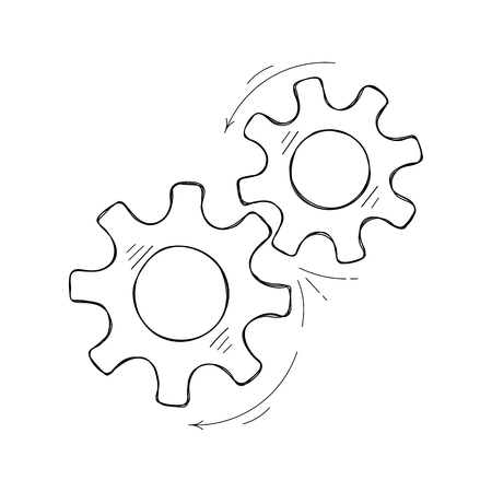 Mechanical gears vector sketch. Teamwork concept design element, factory mechanism with hand drawn cog and gear signify communication progress. Cogwheel illustration for pictogram template. Vector Illustration