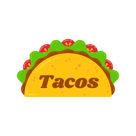 Traditional mexican tacos food bar isolated illustration. Spicy delicious vector taco with beef, meat sauce, carrot sticks, green salad and red tomato with big sign Tacos for food truck logo