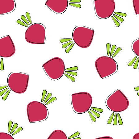 Beet vegetable seamless background vector flat illustration. Fresh food background in white and purple colors with beet vegetable seamless element for wrapping paper, restaurant wallpaper. Vetores
