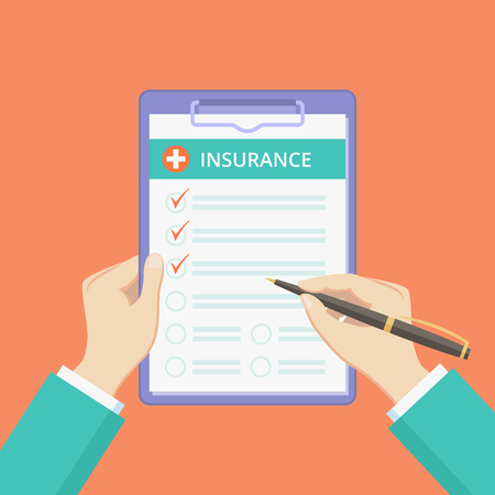 Health insurance policy on clipboard with hands vector illustration. Healthcare protect plan concept with insurance survey on clipboard, flat man hands filling health policy on red background