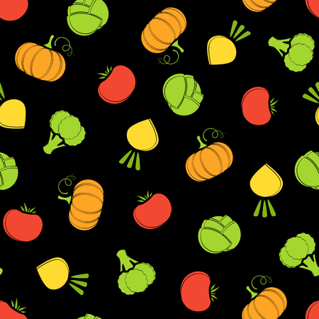 Silhouette seamless vegetable background vector flat illustration. Fresh food background in bright colors with autumn vegetable seamless element for healthy diet decor or vegan fabric print.