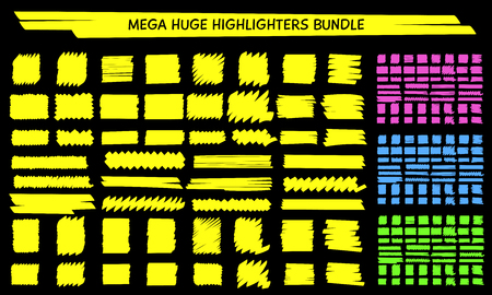 Yellow highlight marker scribble set vector illustration. Hand drawn highlight square and rectangle stripes in yellow and blue, pink and green marker neon colors for whiteboard school style design Ilustração