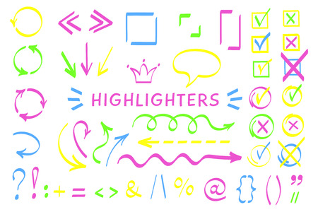 Sketchy symbol highlight pen set vector illustration. Collection of arrows, checkboxes and highlight decorative elements in neon color with felt pen style symbols for hand drawn office planning design