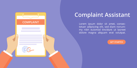 Hands with clipboard complaint assistant landing page template. Online assistant service landing concept, flat man hands holding sealed complaint document on clipboard. Vector violet illustration Vettoriali