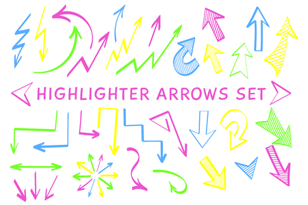Sketch arrow highlight marker set vector illustration. Group of neon colors arrows and pointers, felt marker style symbols for hand drawn diagrams, mind maps and planning highlight drawings
