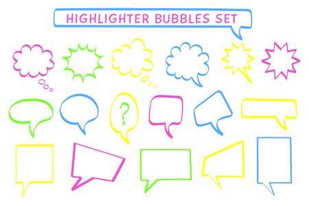 Speech Cloud Highlight-Stift-Set-Vektor-Illustration. Flüchtige Rechtecke und runde Highlight-Nachrichtenblasen in Neonfarben-Kollektion mit Filzstift-Stilzeichen für Dialog-Kritzelei oder Kommunikationssymbol Vektorgrafik
