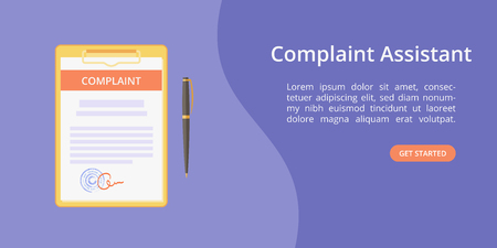 Complaint form assistant on clipboard web template concept Online customer complaint service landing concept with clipboard, signed form and pen on violet background. Vector web illustration template Illustration
