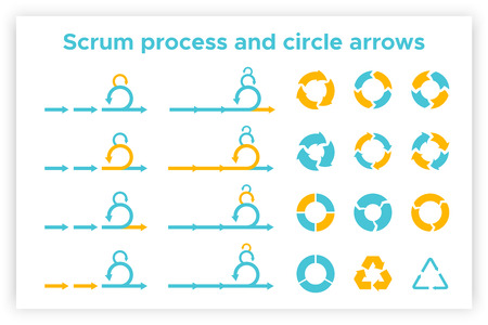 Scrum info graphic diagram element vector set illustration. Agile diagram, recycle symbol and circle chart element collection. Group of blue and orange symbols for scrum methodology info graphic Vector Illustratie