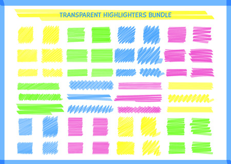 Transparent highlight pen marks set vector illustration. Hand drawn square and rectangle pen scribbles in yellow and blue, pink and green transparent neon colors for social media highlight design Ilustração