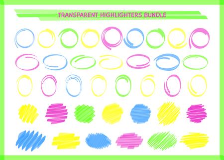 Transparente Highlight-Stift-Kreis-Rahmen-Set-Vektor-Illustration. Sammlung von runden Rand- und Filzstift-Kritzeleien in Neonfarben für handgezeichnetes Highlight-Design oder Schul-Whiteboard-Zeichnung Vektorgrafik