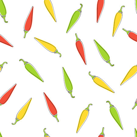 Chili pepper seamless vegetable background vector flat illustration. Modern seamless texture background design with chili pepper vegetable in natural colors for wrapping paper or restaurant wallpaper 일러스트