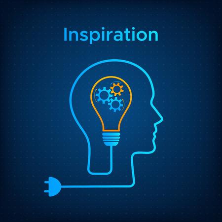 Kopf Silhouette Glühbirne Inspiration Konzept Vektor-Illustration. Kreative Denkgrafik mit Kopfprofil, Zahnradmaschine und Glühbirne. Blaue menschliche Silhouette mit Technologiehintergrundkonzept.