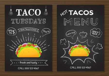 Menú de tacos de comida rápida mexicana tradicional. Cartel de comida estilo tablero de tiza con decoración dibujada a mano en la pizarra con menú de tacos y oferta de martes de tacos y colorida ilustración de vector de taco de carne.