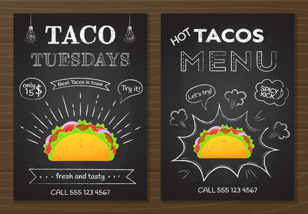 Traditional mexican fastfood tacos menu. Chalk board style food poster with hand drawn decoration on blackboard with tacos menu and taco tuesday offer and colorful beef taco vector illustration.