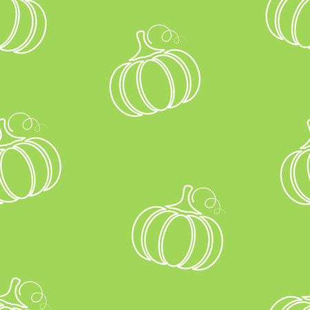 Pumpkin contour vegetable seamless pattern vector flat illustration. Natural food pattern design with pumpkin silhouette vegetable seamless texture in green and white colors for vegan fabric print.