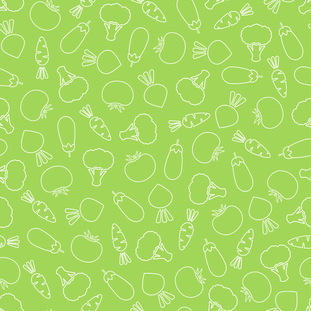 Line vegetable seamless pattern vector flat illustration. Natural food pattern design with contour vegetable seamless texture in green and white color for vintage wallpaper or vegan fabric print.