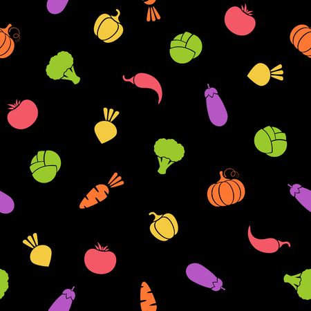 Silhouette vegetable seamless pattern vector flat illustration. Natural food black pattern design with outline vegetable seamless texture in bright color for organic fabric print or wallpaper template