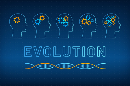 Head silhouette with gear brain evolution concept vector illustration. Face profile with evolving gear mechanism brain, blue, orange dna molecule helix and big sign evolution on tech background