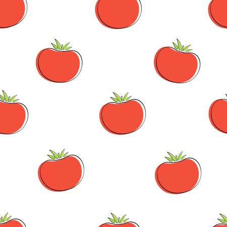 Tomato vegetable seamless background vector flat illustration. Modern seamless texture background design with tomato vegetable in natural red and white color for healthy vegetarian menu or wallpaper