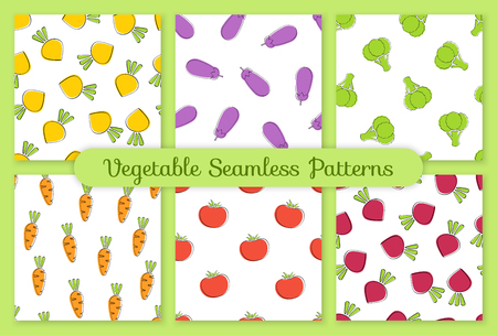 Pumpkin vegetable seamless background set vector flat illustration. Modern seamless texture background design with pumpkin vegetable in natural orange and white colors for healthy vegetarian menu