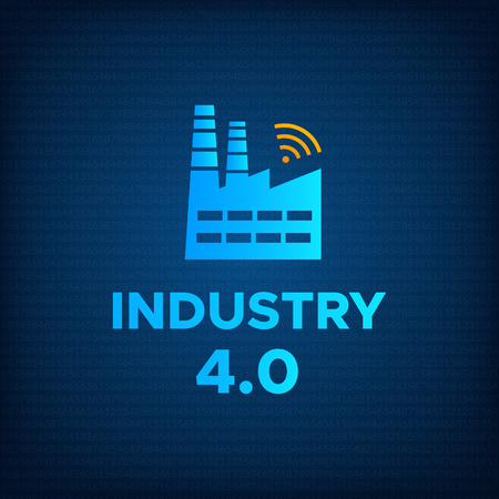 Manufacturing industry 4.0 revolution concept vector illustration. Blue factory icon with wireless symbol and sign INDUSTRY 4.0 Smart technology and technology background revolution business concept. Ilustração Vetorial