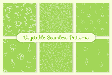 Seamless silhouette vegetable pattern set vector flat illustration. Modern seamless texture pattern design with harvest contour vegetable in white, green color for healthy diet or vintage wallpaper Illustration