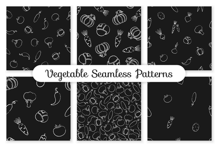 Decorative chalk silhouette vegetable seamless pattern. Decoration food design background on black chalkboard with chalk contour vegetables. Seamless vector illustration for backdrop print pattern.