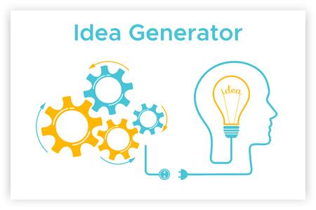 Head silhouette lightbulb creative idea concept vector illustration. Idea generator graphic with head profile, gear mechanismht bulb. Blue human silhouette with orange lightbulb idea concept.