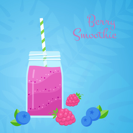 Purple natural fruit raspberry smoothie vector illustration. Glass jar with layered protein milk shake cocktail with blueberry and raspberry on tropical blue background for smoothies summer menu