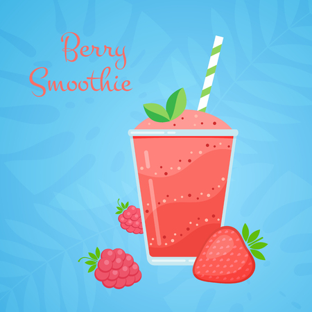 Red strawberry vegeterian smoothie cocktail vector illustration. Glass with layers of sweet vitamin juice cocktail or protein shake with couple strawberries for smoothies summer menu design template Illustration