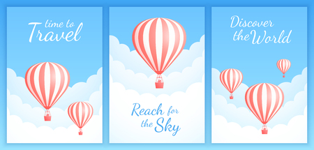 Hot air balloon sky flight vector illustration set. White clouds on spring blue sky with big motivational quotes, red stripe hot air balloon with couple for vacation adventure. Clipping mask applied.