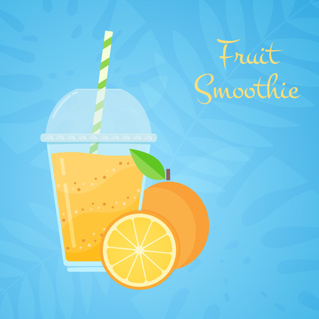 Orange raw fruit tasty smoothie vector illustration. Juicy vegeterian vitamin beverage or protein milk shake in cup glass and fresh orange for social media or web design smoothie promotion banner