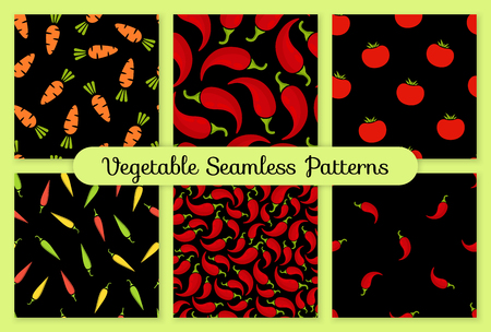 Seamless pattern vegetable background set vector flat illustration. Fresh food background in black and red colors with chilli vegetable seamless element for healthy diet decor or vintage wallpaper