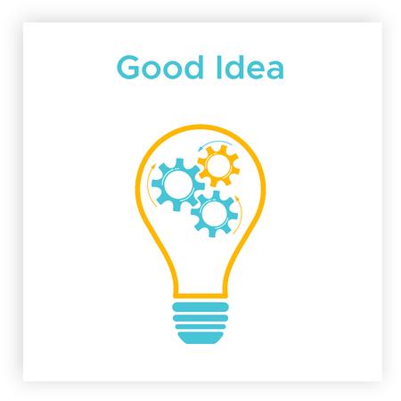 Gear lightbulb creative teamwork concept vector illustration. Orange bulb silhouette with blue cogwheel inside innovation ideas graphic. Line lamp with gear mechanism creative team business concept Illustration