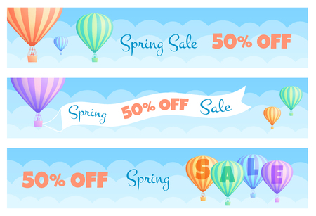 Hot air balloon sale banner vector illustration. Discount coupon template, white cloud on summer blue sky colorful stripes hot air balloons with big banner Spring Sale Discount. Clipping mask applied.