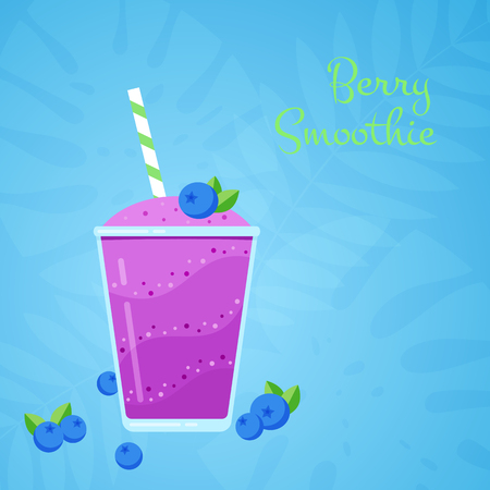 Violet fresh blueberry natural smoothie vector illustration. Sweet protein shake or vegeterian juicy cocktail indigo color in glass cup with straw and bluberry for smoothie social media promotion Illustration