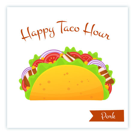 Mexican traditional pork tacos food banner isolated vector illustration. Spicy delicious taco with bacon, onion, salad and tomato with big sign Happy Taco Hour for web banner or cafe promo