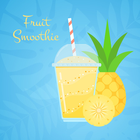 Yellow vitamin natural pineapple smoothie vector illustration. Layered juicy pulp beverage or protein shake cocktail with pineapple fruit on blue tropical background for smoothies cafe design