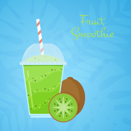Green natural detox kiwi smoothie vector illustration. Health vitamin cocktail with fresh kiwi fruit in straw cap glass on blue tropical background for smoothie bar summer promo or web banner template