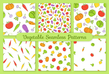Outline seamless vegetable background set vector flat illustration. Background design with carrot, pumpkin, tomato and cabbage silhouette vegetable seamless texture in natural color for wallpaper Иллюстрация