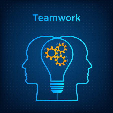 Heads silhouette lightbulb creative teamwork concept vector illustration. Blue human profile with bulb silhouette and orange cogwheel. Line head with technology background business team concept Иллюстрация
