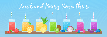 Vegeterian smoothie shake cocktail collection vector illustration. Set of glass jar with layers of sweet vitamin juice cocktail or protein shake with fresh fruits for smoothies fitness bar design