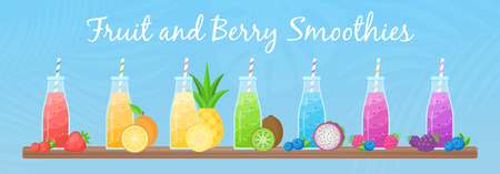 Healthy diet smoothie drink set vector illustration. Glass bottle with straw and layered fresh cocktail in rainbow colors with collection of raw fruit on tropical background for cafe smoothie banner