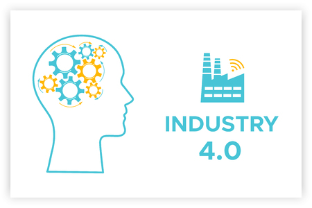 Head profile industry 4.0 revolution concept vector illustration. Blue factory icon with wireless symbol and sign INDUSTRY 4.0 Head silhouette with gear brain technology revolution business concept.