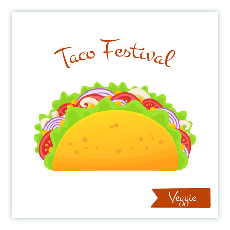 Fresh traditional veggie tacos food banner isolated vector illustration. Spicy delicious vegetable taco with onion, mushroom, salad and red tomato with big sign Taco Festival for food truck promotion