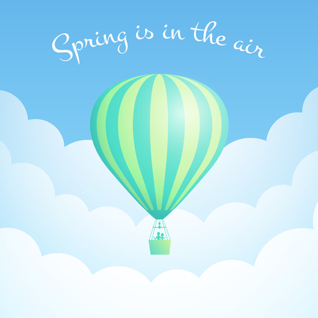 Hot air balloon cloud scape vector illustration. White clouds on spring blue sky with big motivational quote, green stripe hot air balloon for sky vacation adventure design. Clipping mask applied.