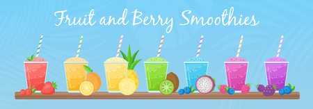 Natural fruit smoothie rainbow colection vector illustration. Sweet protein shake or vegeterian juicy cocktail set in glass cup with straw and fresh fruits for smoothie social media promotion banner Illustration
