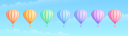 Hot air balloon travel adventure vector illustration set. White cloud on summer blue sky, collection of rainbow colors hot air balloons or airships for sale banner promotion. Clipping mask applied.
