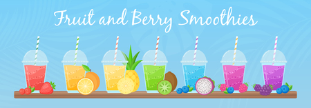 Fresh fruit smoothie shake cocktail set vector illustration. Coolection of glass with layers of sweet vitamin juice cocktail or protein shake in rainbow colors with fruits for smoothies summer menu