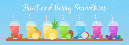 Vitamin smoothie cocktail summer set vector illustration. Fresh juice shaken energy cocktail in glass, rainbow colors with fruit collection for vitamin beverage take away or detox diet design promo